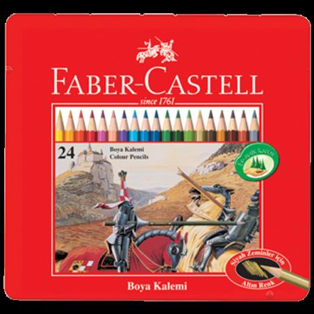 FABER-CASTELL 24 RENK KURUBOYA, METAL KUTU