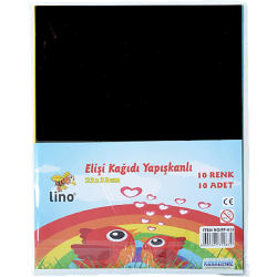 LİNO EL İŞİ KAĞIDI YAPIŞKANLI, 10 RENK 10 ADET (23X33 CM.)
